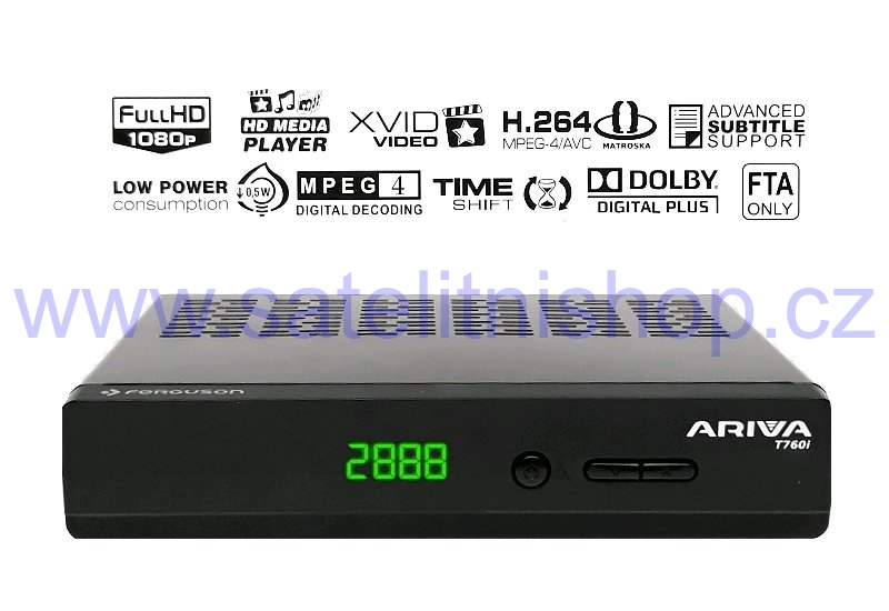 E-AC3 HDMI SCART Ethernet Full HD 1080P Decoder Terrestre Mediaplayer Loop Out Dolby Digital Plus STB Ferguson Ariva T760i DVB-T//T2 H.265 HEVC MPEG-4 Ricevitore USB